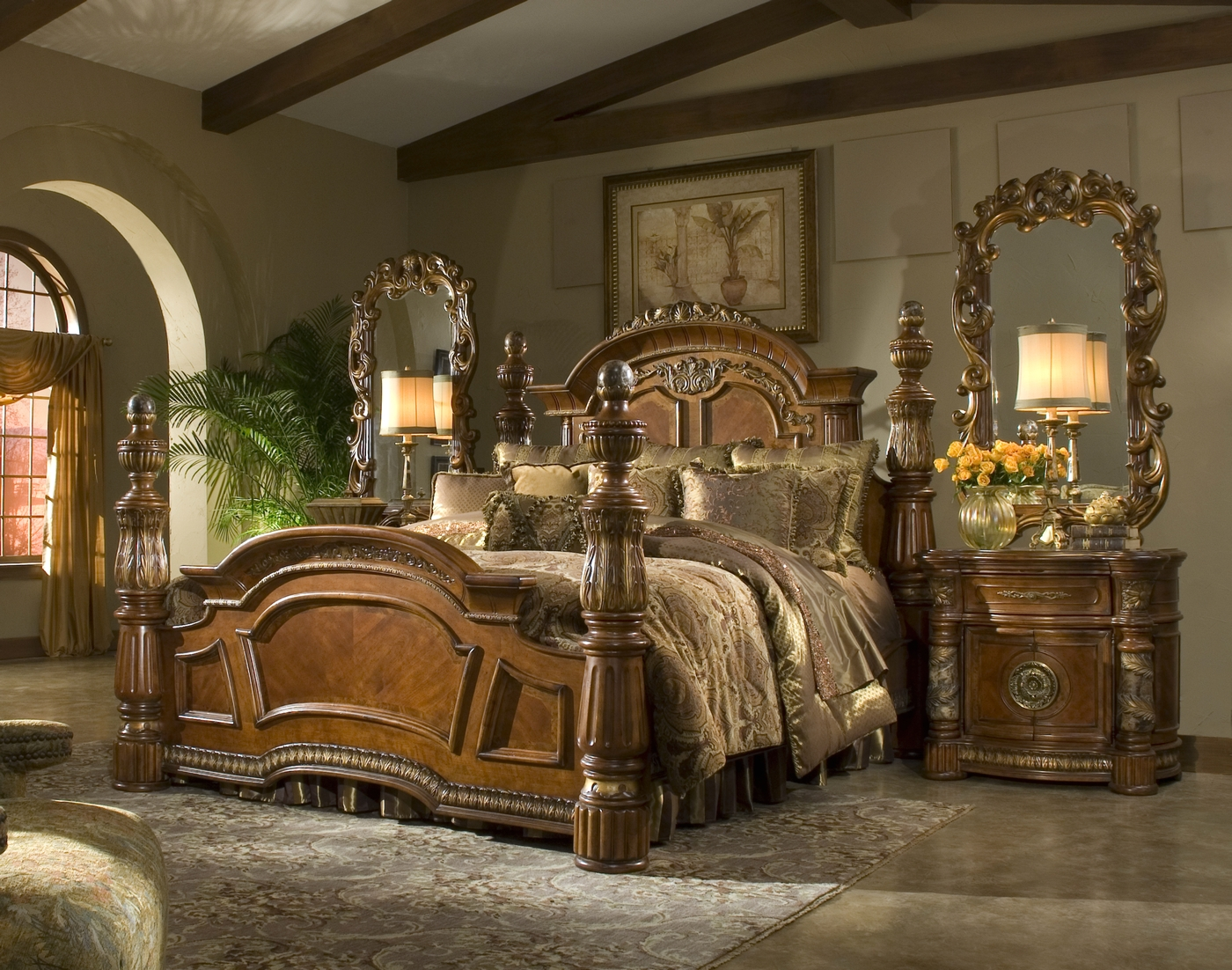 Villa valencia bedroom set 4 poster king bedroom set for King four poster bedroom sets