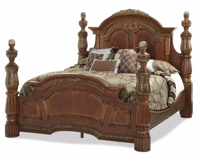 Traditional California King Poster Bed Michael Amini Villa Valencia by AICO