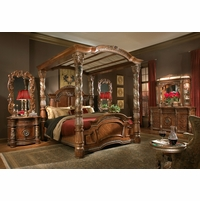 Michael Amini Villa Valencia 4pc Canopy King Bedroom Set in Classic Chestnut Finish