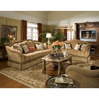 Michael Amini Villa Valencia Chestnut Finish Wood Trim Tufted Sofa & Love Seat Set