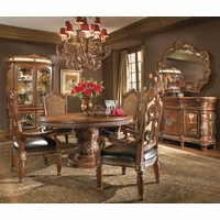 Michael Amini Villa Valencia Traditional 5pc Dining Room Set in Classic Chestnut