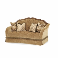 Michael Amini Villa Valencia Chestnut Traditional Wood Tufted Loveseat by AICO