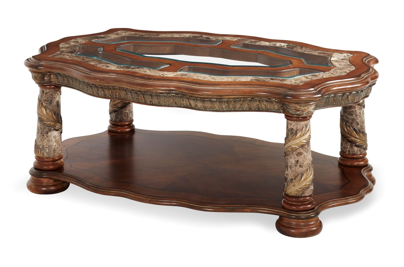 Villa Valencia Old World Birch Marble Coffee Table In Chestnut