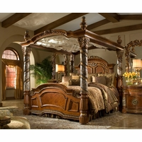 Michael Amini Villa Valencia King Canopy Bed with Marble Posts in Classic Chestnut