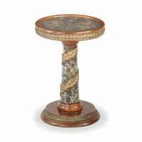 Michael Amini Villa Valencia Marble Column Chair Side Table by AICO