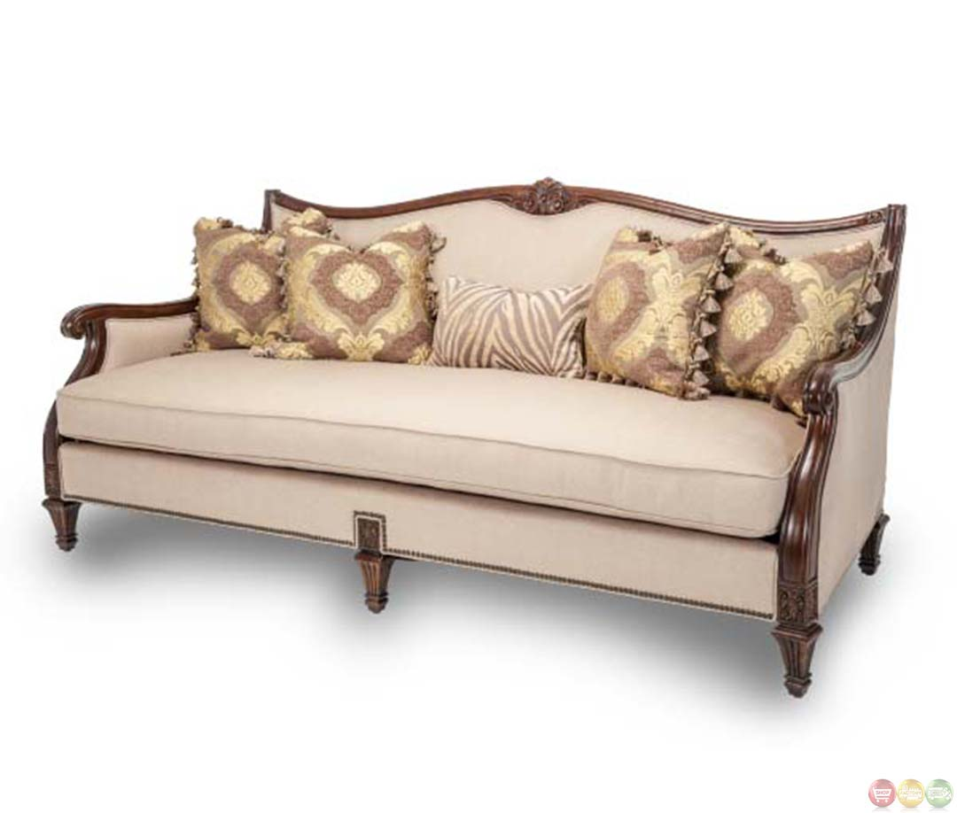 Michael Amini Villagio Hazelnut Wood Trim Sofa With Pillows By Aico