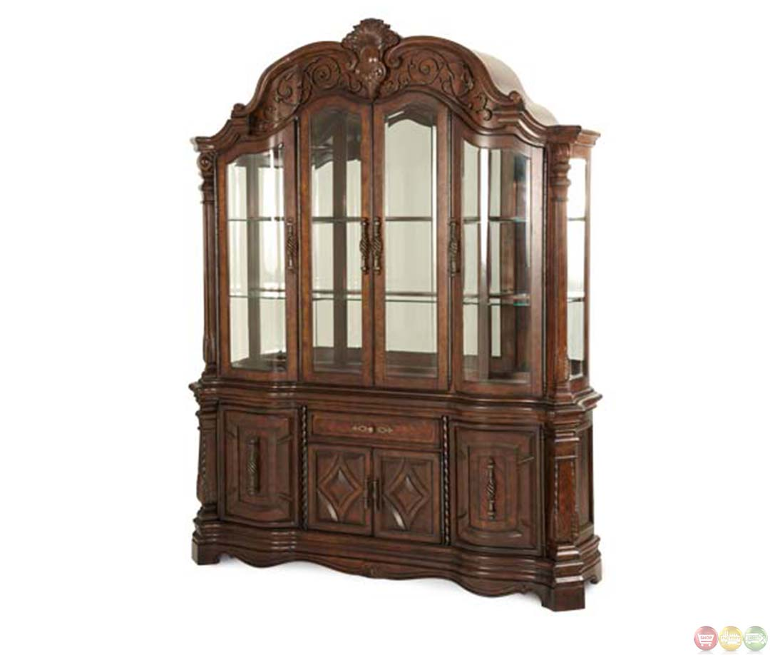 michael amini vintage fruitwood finish windsor court china cabinet by aico. Black Bedroom Furniture Sets. Home Design Ideas