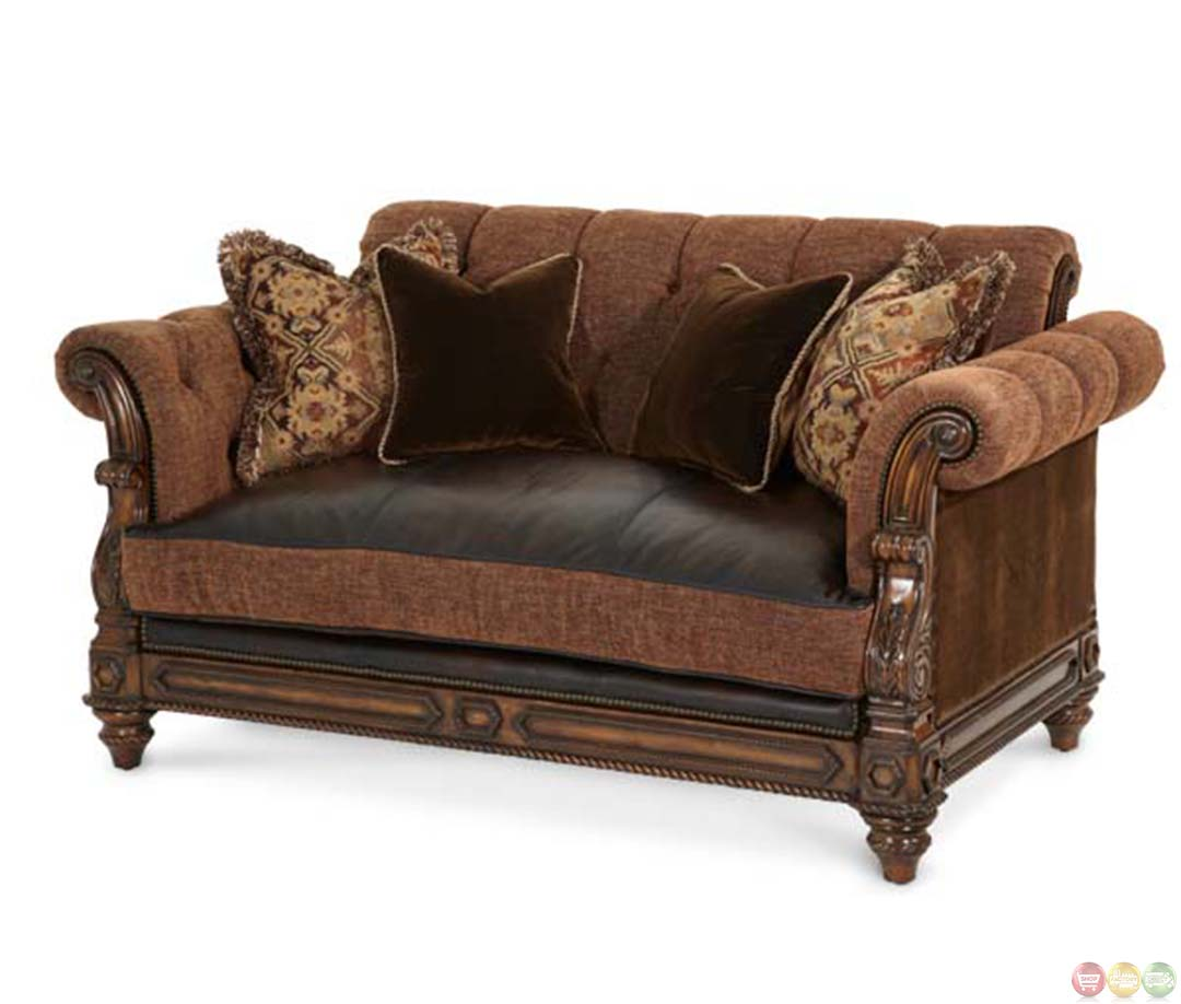Michael amini vizcaya leather and fabric traditional for Aico trevi leather armless chaise in brown