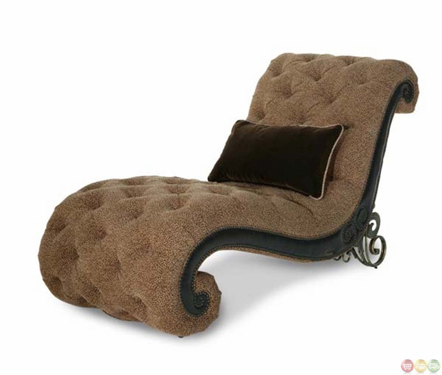 Michael amini vizcaya leather and fabric upholstery for Aico trevi chaise