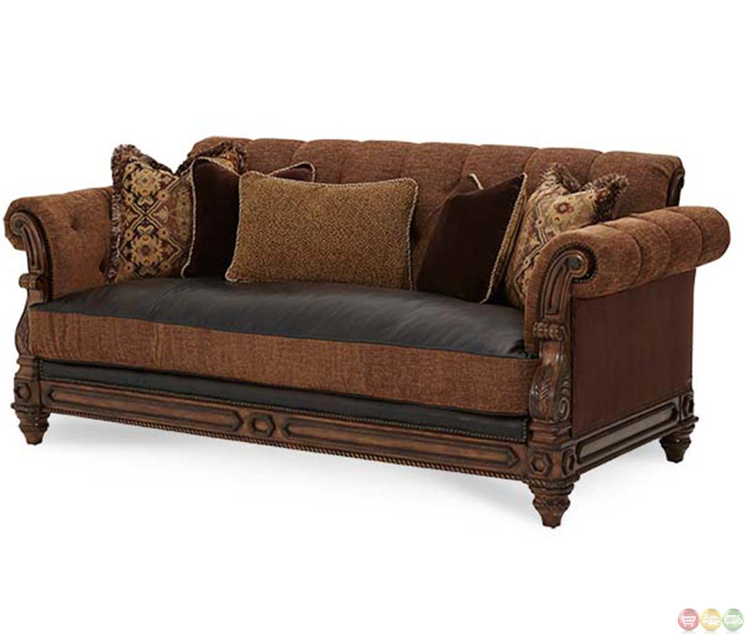Leather And Upholstered Sofa Carved Teak And Leather Upholstered Sofa At 1stdibs Michael