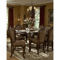 Michael Amini Windsor Court Fruitwood Traditional Dining Table Set by AICO