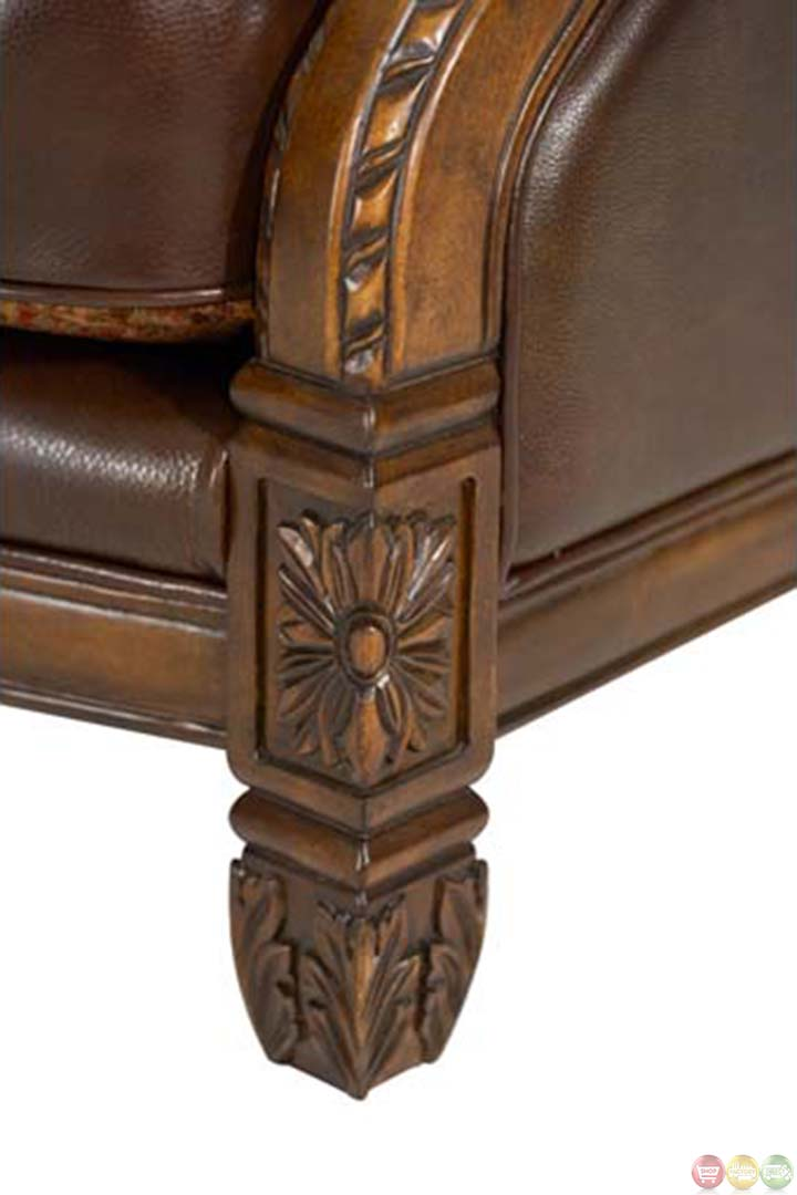 Michael Amini Windsor Court Leather And Fabric Wood Trim