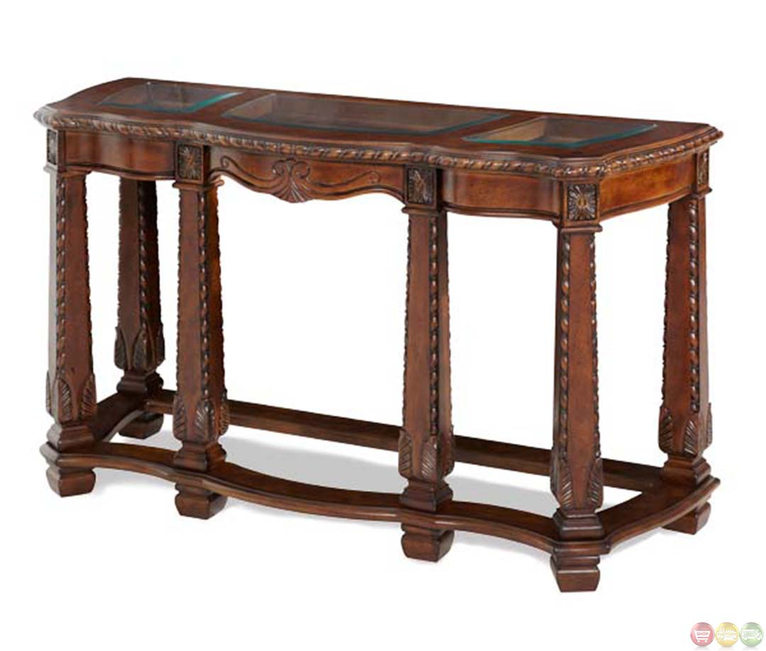 Michael amini windsor court sofa table with storage drawer for Sofa table storage