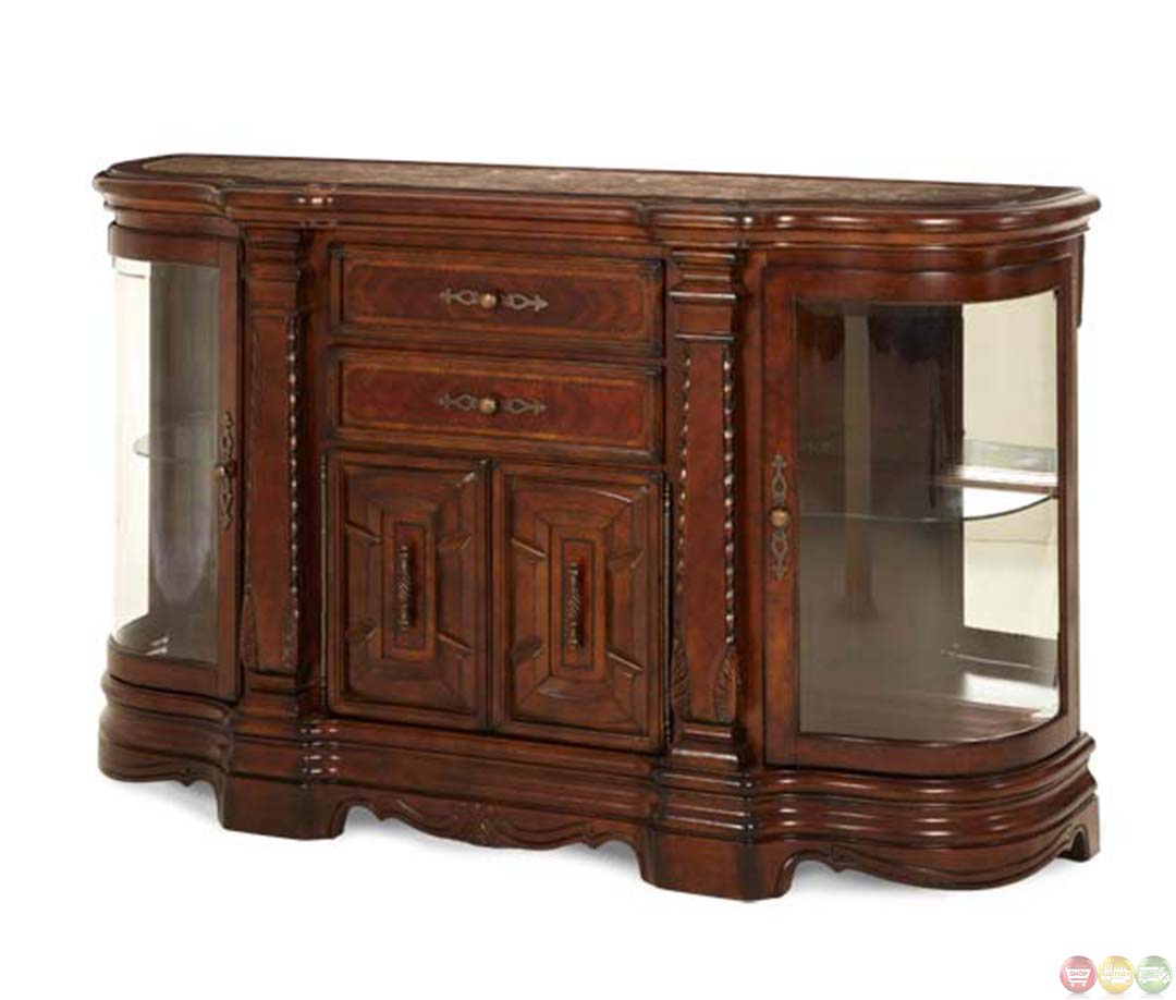 Michael Amini Windsor Court Vintage Fruitwood Finish Sideboard By Aico