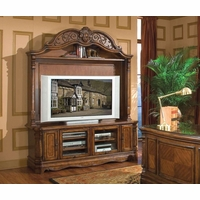 Michael Amini Windsor Court Vintage Fruitwood Entertainment Wall Unit by AICO