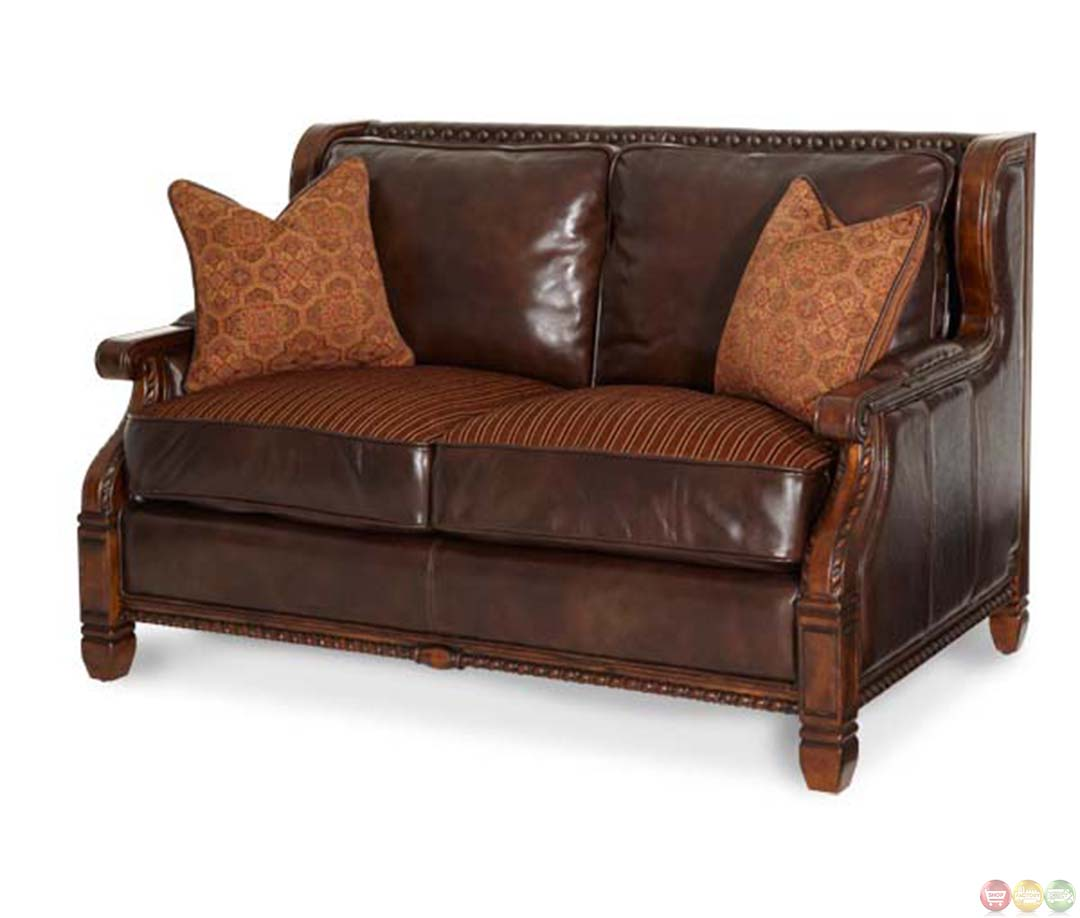 Michael Amini Windsor Court Wood Trim Leather And Fabric Loveseat By Aico