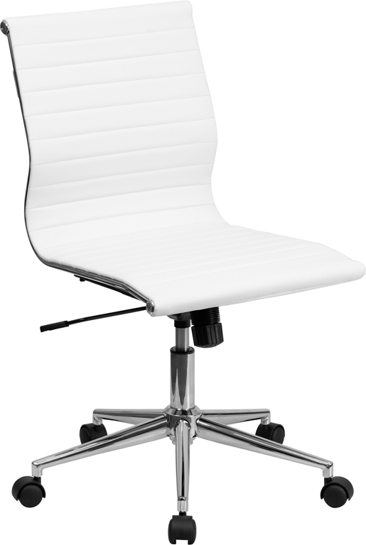 Details About Mid Back Armless White Ribbed Upholstered Leather Conference Chair
