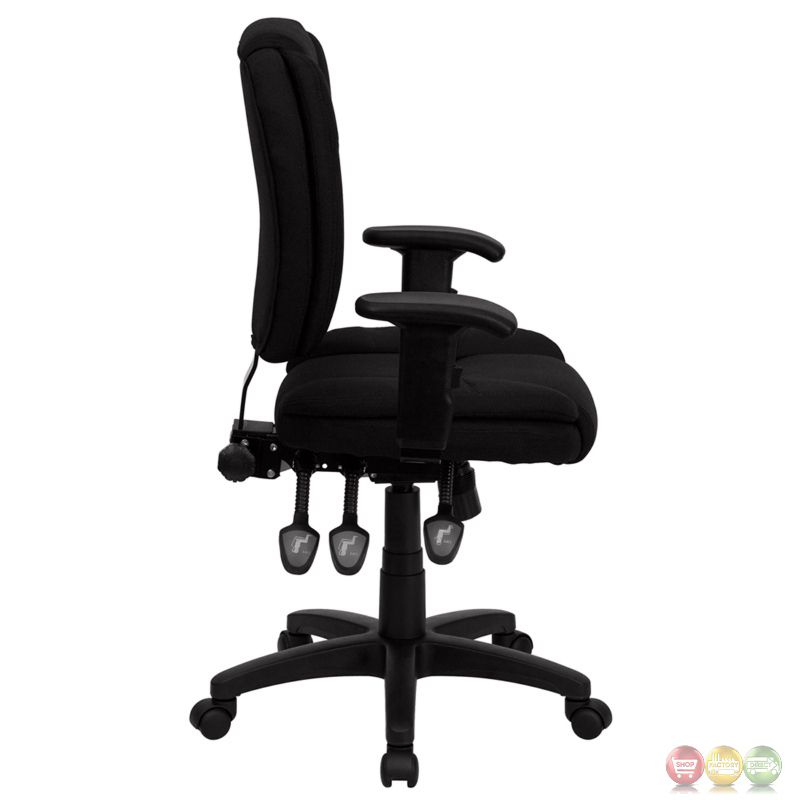 Mid back black fabric multi functional ergonomic task chair with arms go 930f bk arms gg - Ergo kids task chair ...