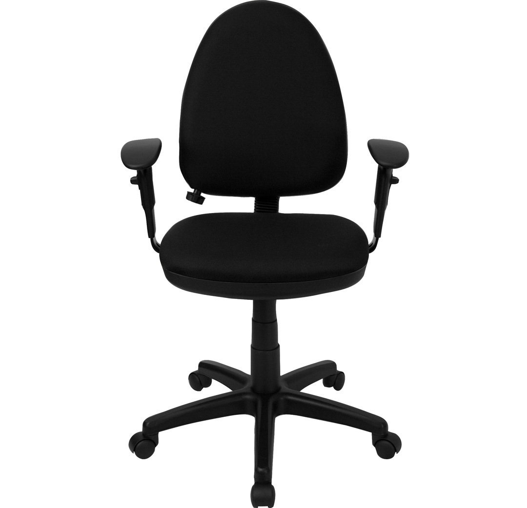 Mid Back Black Fabric Multi Functional Task Chair With