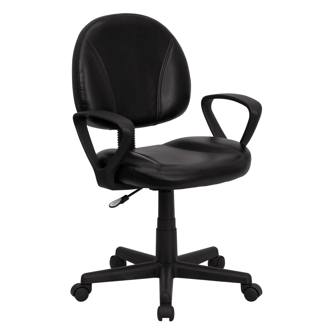 Mid back black leather ergonomic task chair with arms bt 688 bk a gg - Ergo kids task chair ...