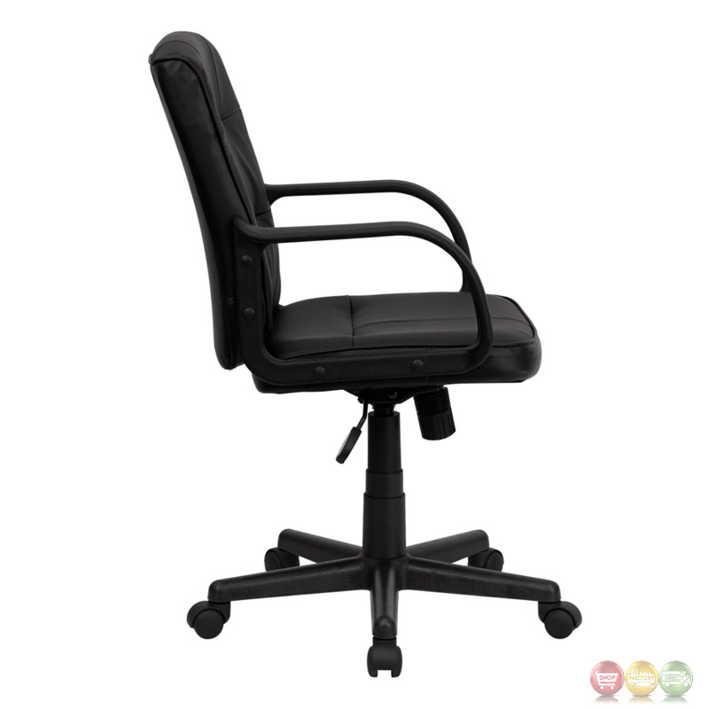 mid back black leather office chair with nylon arms go 228s bk lea gg. Black Bedroom Furniture Sets. Home Design Ideas