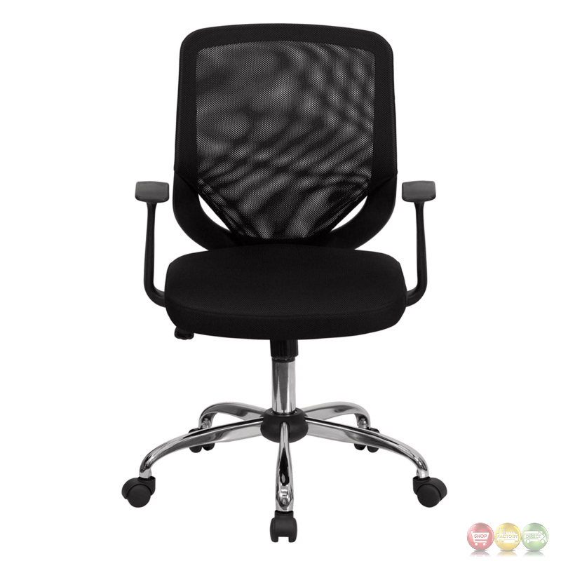 mid back black mesh office chair with mesh fabric seat lf