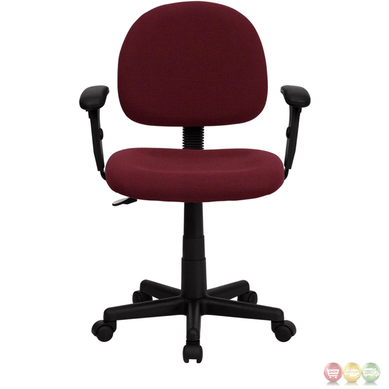 Mid back ergonomic burgundy fabric task chair with adjustable arms bt 660 1 by gg - Ergo kids task chair ...