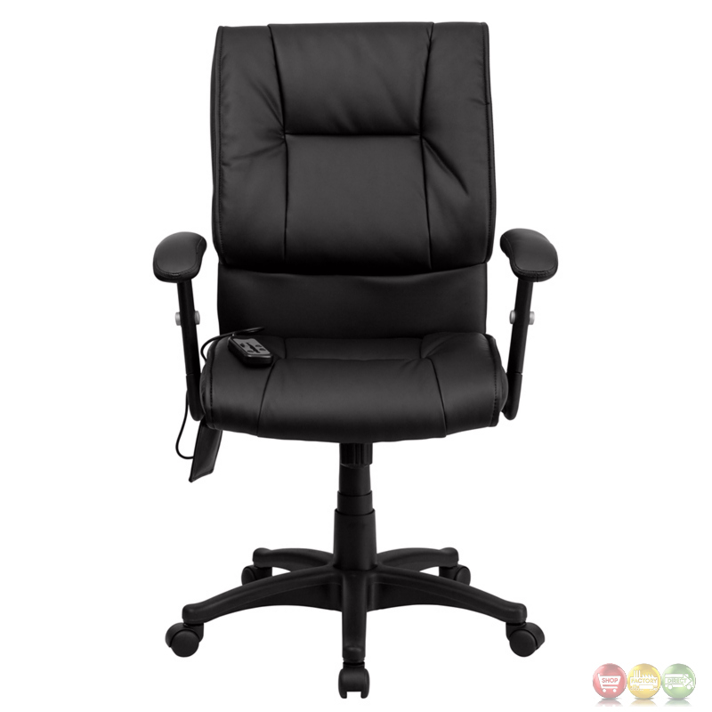 Mid-back Massaging Black Leather Executive Swivel Office Chair