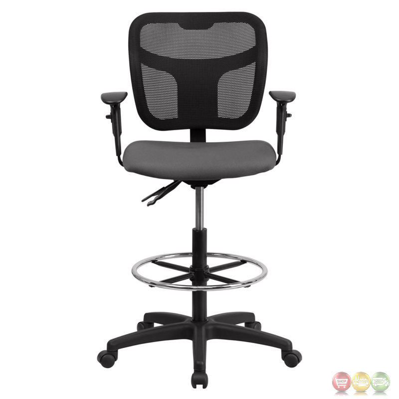Mid Back Mesh Drafting Chair With Gray Fabric Seat And