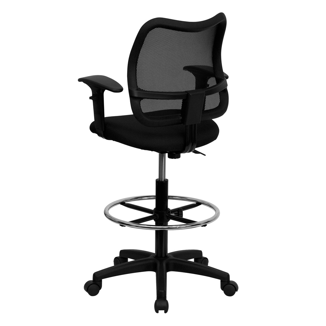 Mid Back Mesh Drafting Stool With Black Fabric Seat And