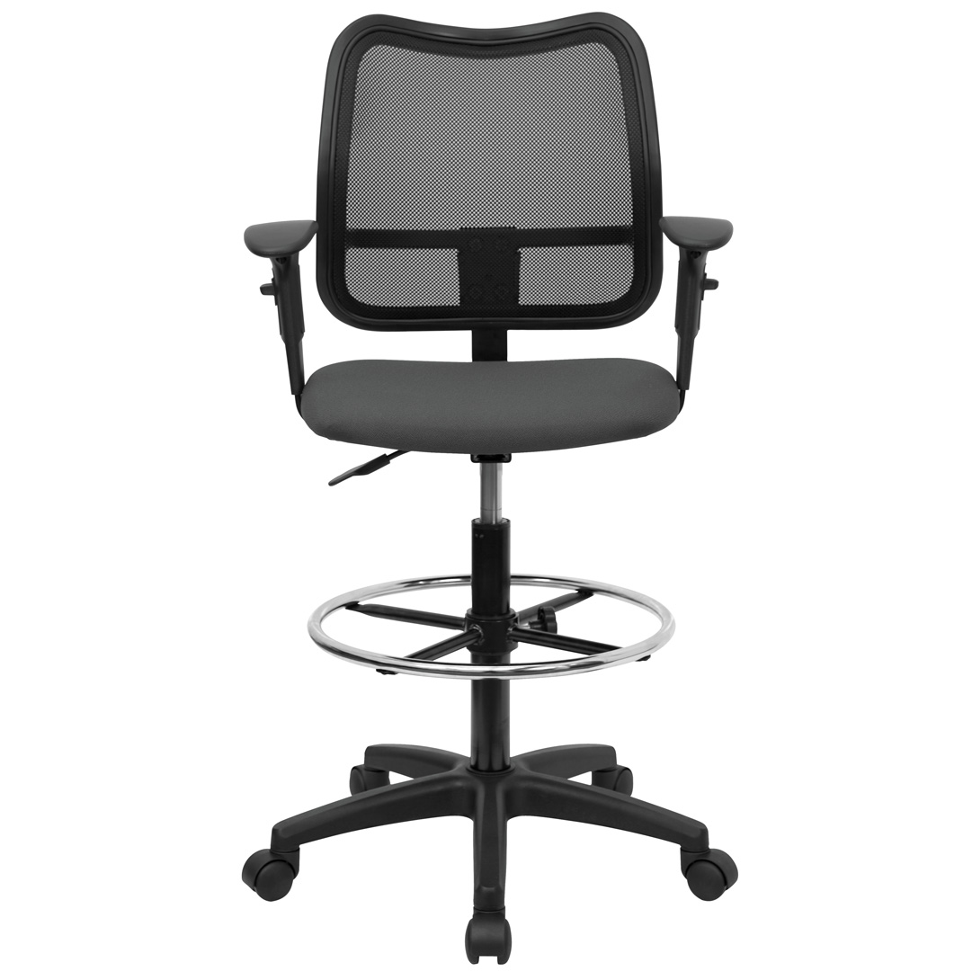 Mid Back Mesh Drafting Stool With Gray Fabric Seat And