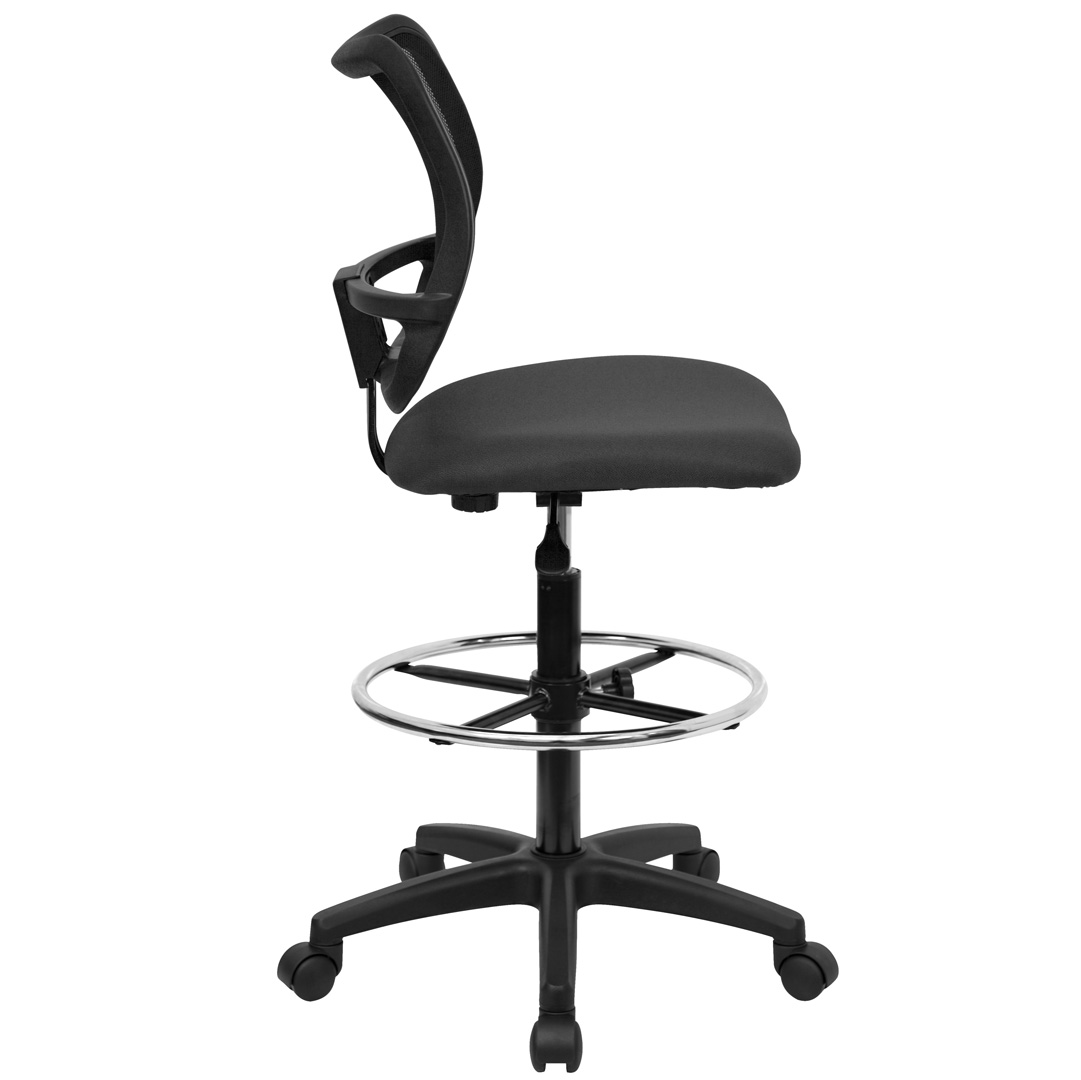 Mid Back Mesh Drafting Stool With Gray Fabric Seat Wl A277