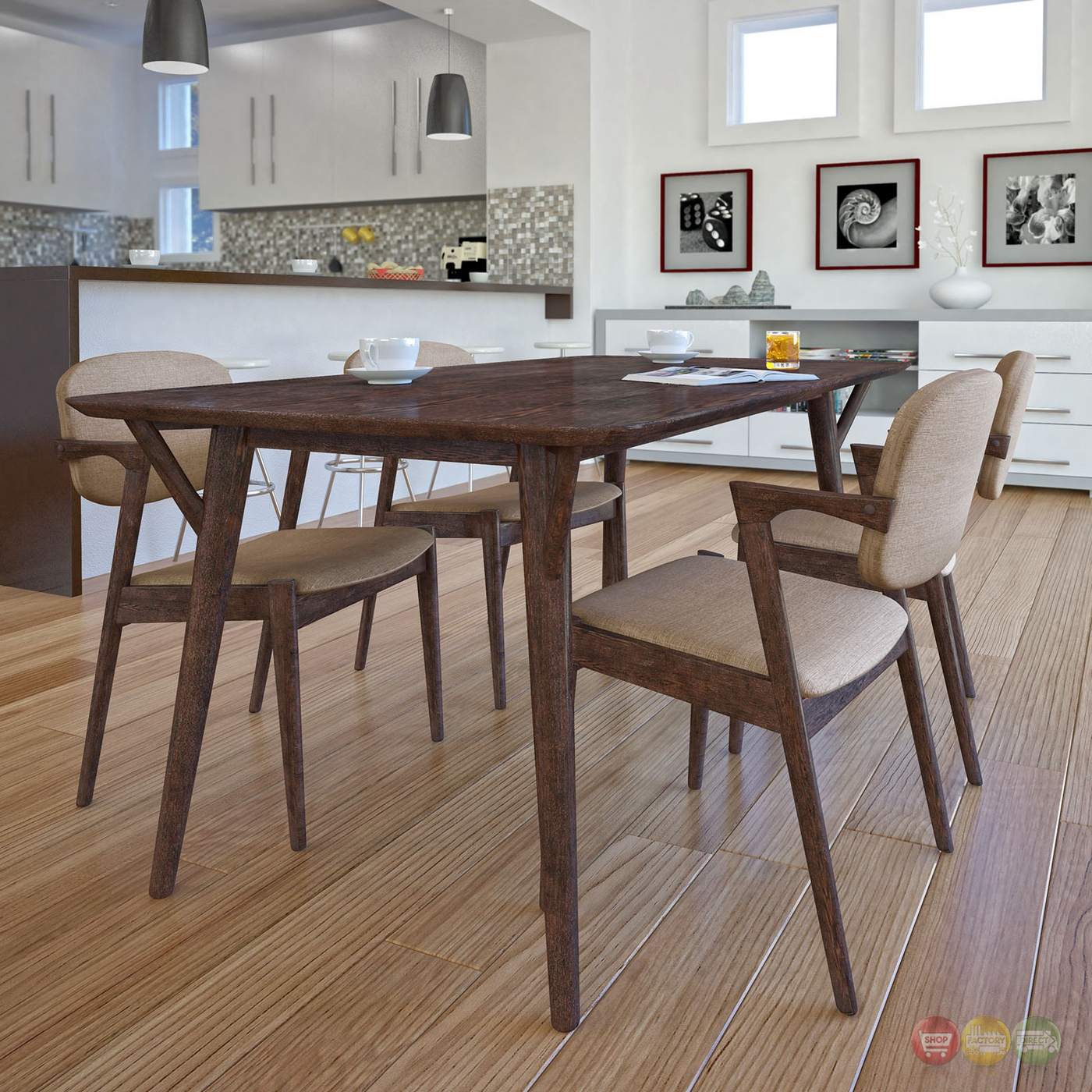 Mid Century Dining Set: Mid-century Modern 5pc Wooden Dining Set With Upholstered