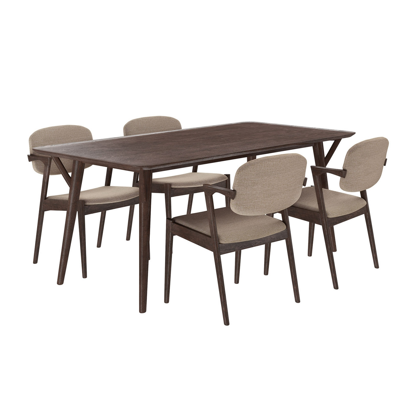Mid century modern 5pc wooden dining set with upholstered for Modern dining chairs philippines