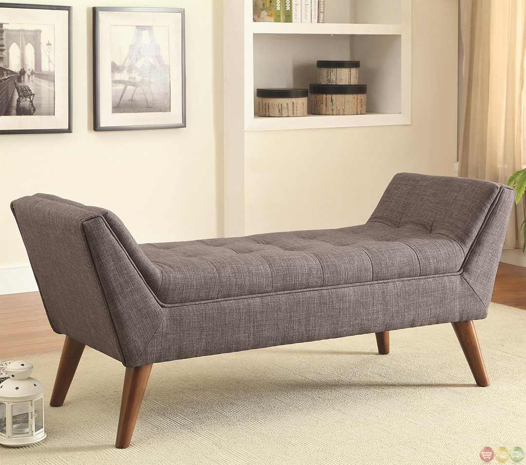Mid century modern design accent bed bench gray tufted for Seating furniture living room