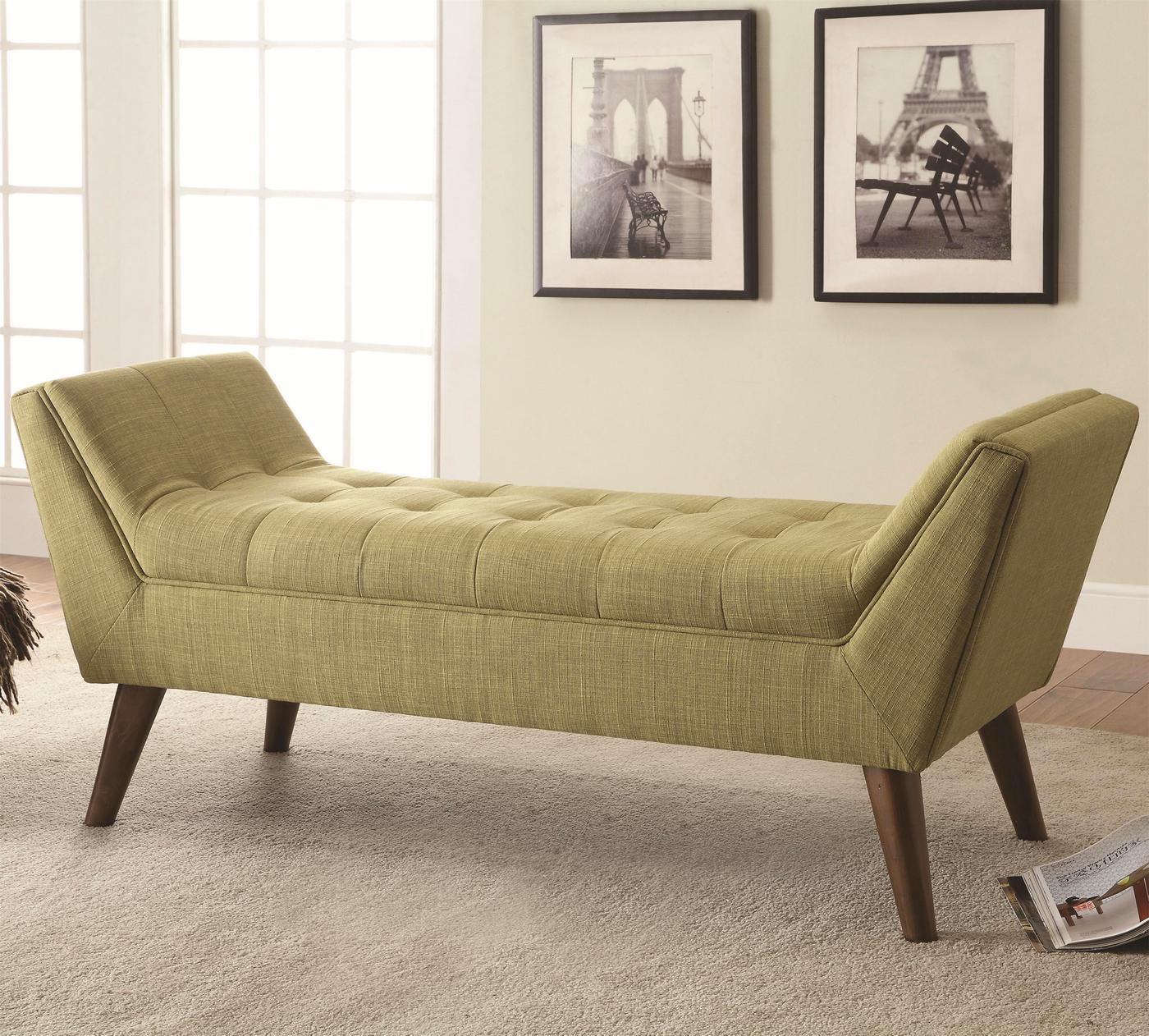 Mid Century Modern Design Tufted Upholstery Bed Bench