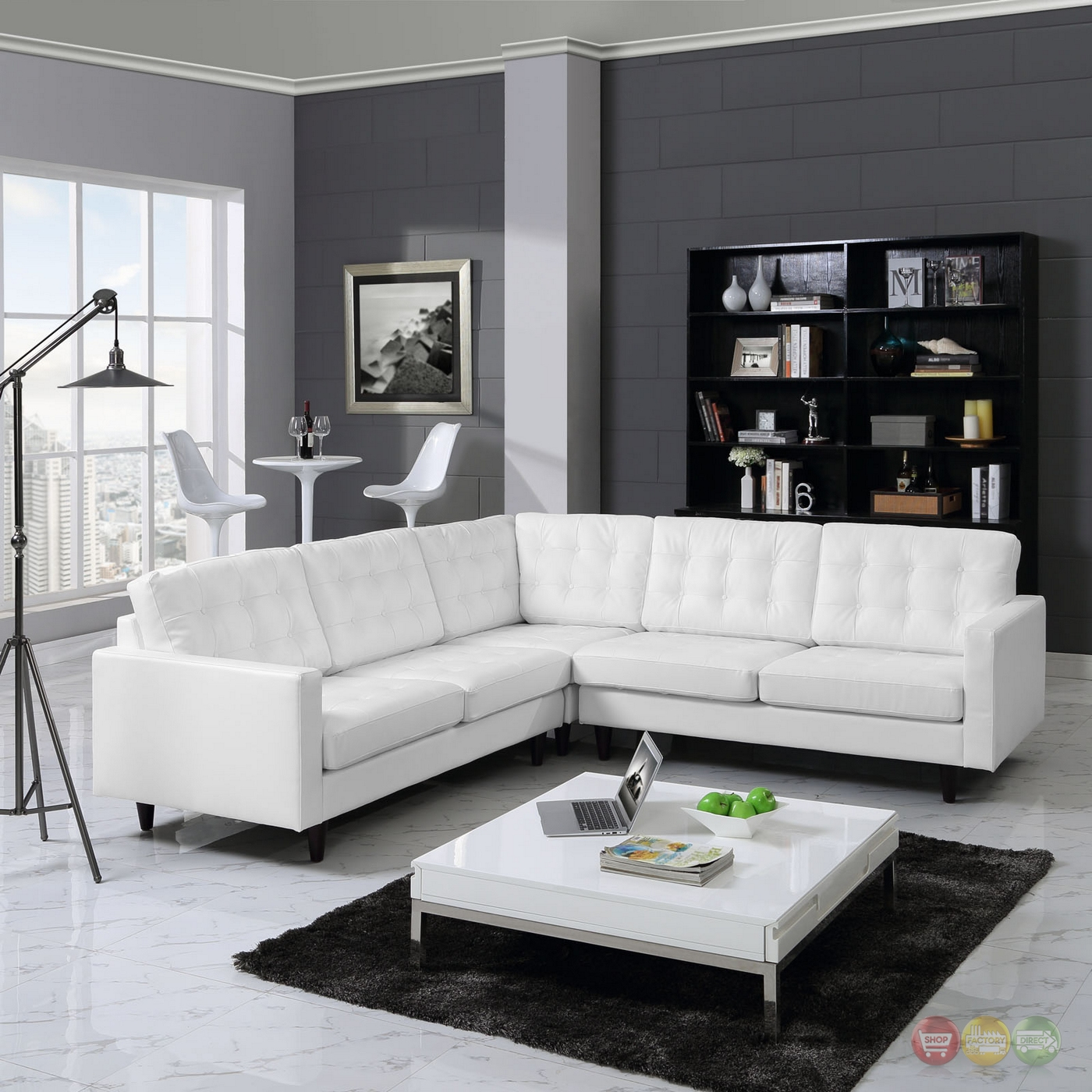 Modern White Leather Sectional Sofa: Button Tufted Sectional Sofa