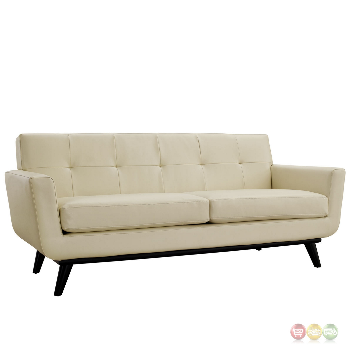 Mid Century Modern Bonded Leather Living Room Sofa Camel: Mid-Century Modern Engage 2pc Button-Tufted Leather Living