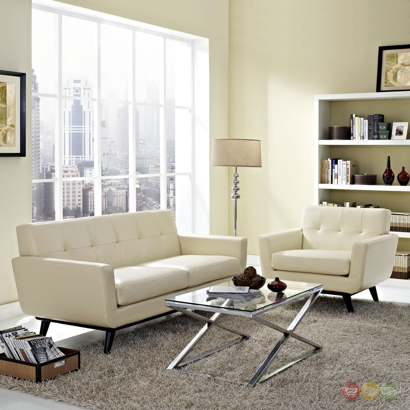 Mid-Century Modern Engage 2pc Button-Tufted Leather Living