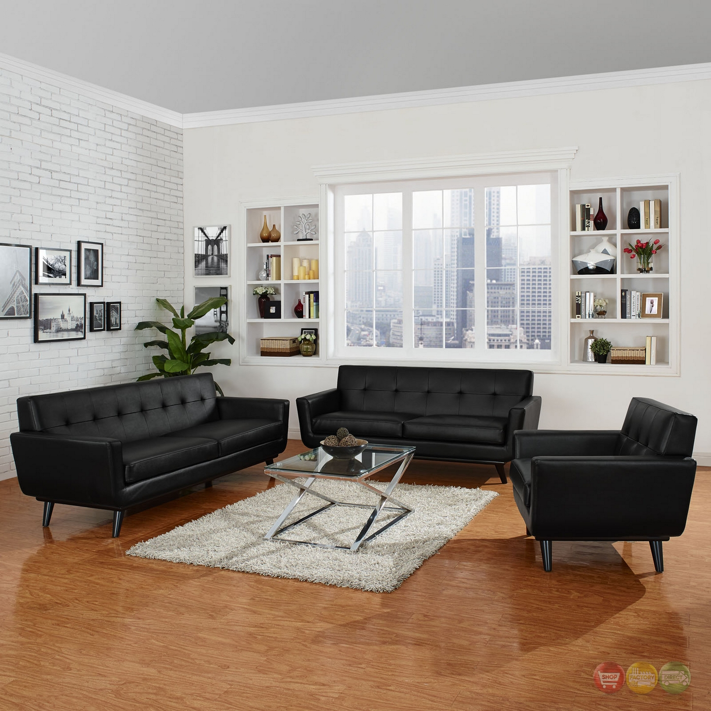 Living Room Modern Black: Mid-Century Modern Engage 3pc Button-Tufted Leather Living