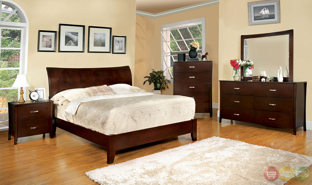 Midland contemporary brown cherry bedroom set with wooden for Wooden bedroom furniture sets