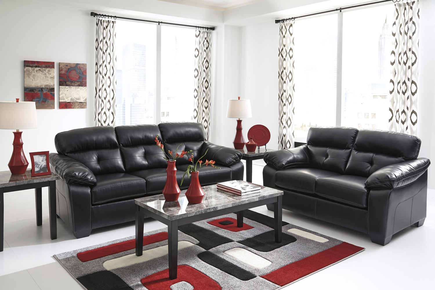 Midnight black casual contemporary living room furniture for Modern living room furniture sets