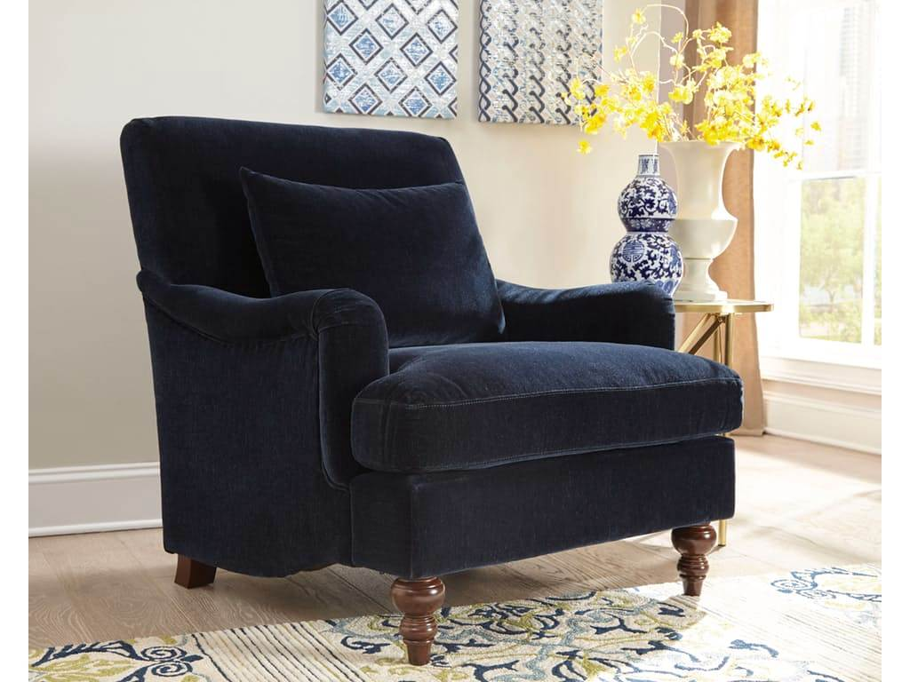 Midnight Blue Accent Chair With Saddle Arms And Turned Legs