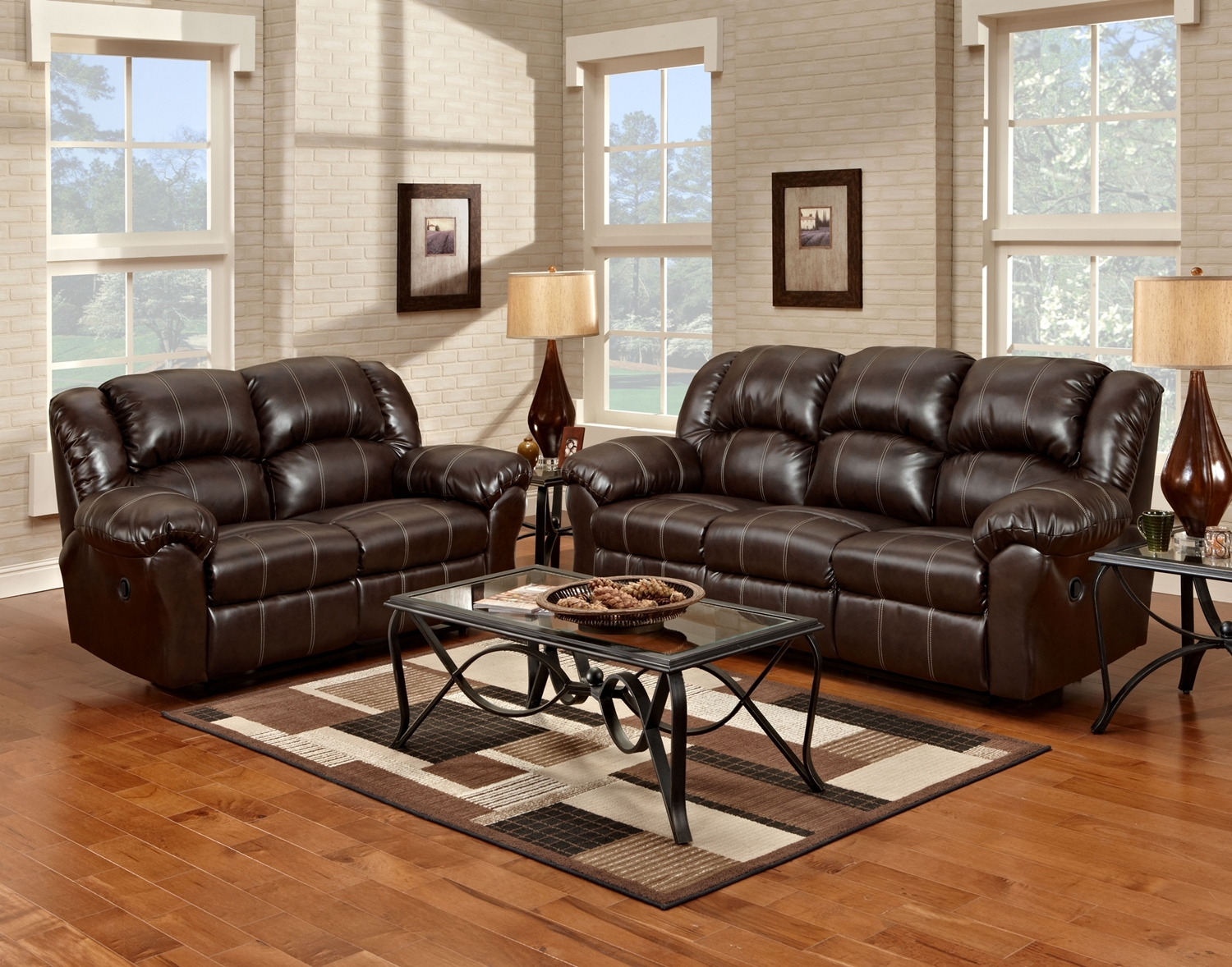 Brandon Casual Reclining Brown Bonded Leather Living Room ...