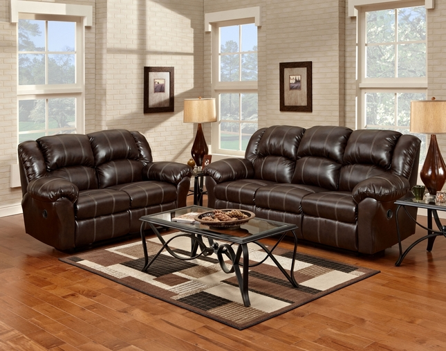 Brandon Casual Reclining Brown Bonded Leather Living Room Set w/ Plush Padding