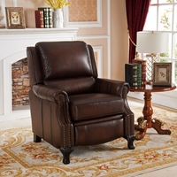 Milari Traditional Genuine Real Brown Leather Pushback Reclining Chair