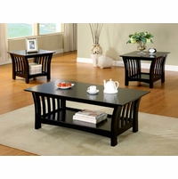 Milford Contemporary Black Accent Tables Set with Open Shelf