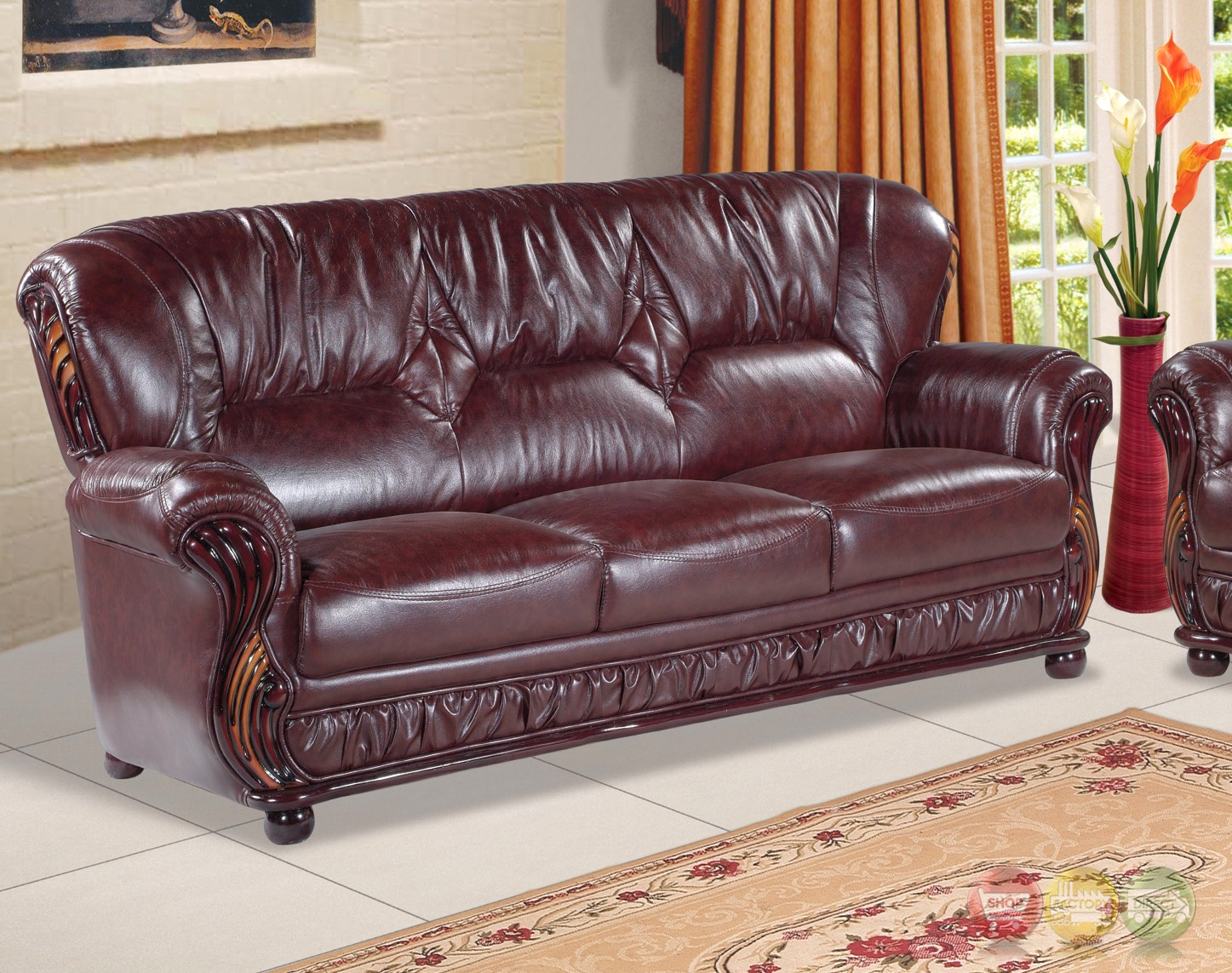 Mina burgundy leather italian sofa with wood accents Burgundy leather loveseat