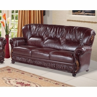 Fine Mina Burgundy Leather Italian Sofa With Wood Accents Machost Co Dining Chair Design Ideas Machostcouk