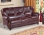 Mina Burgundy Traditional Italian Leather Sofa & Loveseat Set With Wood Accents